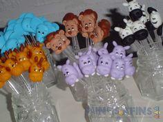 Colherzinhas personalizadas com personagens do tema #safári confeccionados em porcelana fria (biscuit)