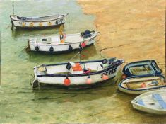 Summer afternoon on a bit of a cloudy day at St. :) Tide was just coming in and started getting to the boats on the beach. Painted with looser St Ives, Cloudy Day, Brush Strokes, Authenticity, Certificate, Boats, My Arts, Landscape, Water