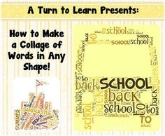 how to make a collage of words in any shape... awesome tool for students and teachers!