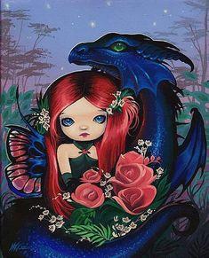 Art 'Dragons Fairy Rose' - by Nico Niemi from Magical Companions Fantasy Dragon, Dragon Art, Fantasy Art, Magical Creatures, Fantasy Creatures, Fairy Pictures, Gothic Fairy, Cute Dragons, Beautiful Fairies