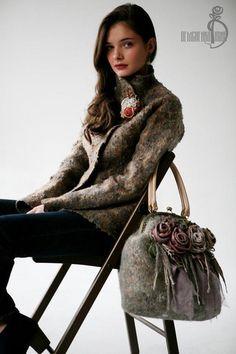 Купить Валяная сумка «Dried flowers» - бледно-розовый, женственность, ветер, лес, forest