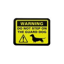 Guard Dog Warning Vinyl Magnet by jennsdoodleworld. Sausage dogs are so cute!