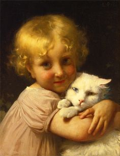 "(""Best Friends,"" by Léon-Jean-Basile PerraulBehold! Some Of The Greatest Cat Art Ever, In Honor Of National Cat Day Crazy Cat Lady, Crazy Cats, Angora Cats, National Cat Day, Religious Paintings, Photo Chat, Cat People, White Cats, Vintage Cat"