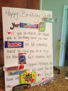 Candy Birthday Card For Dad Cards Gift Ideas Basket