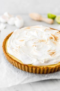 A lemon meringue pie is a dessert that everyone likes. This one is a lime meringue pie because I love the tanginess that the lime brings to the recipe. Lime Meringue Pie, Condensed Milk Cookies, Pie Tops, Popsicles, No Bake Cake, Cravings, Bakery, Food And Drink, Lemon