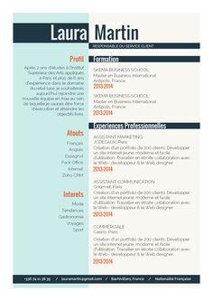 Routinier - Un CV plutot classique dans sa forme, avec une belle mise en avant de la formation. Un design de CV assez standard, mais qui du coup, peut convenir à de très nombreuses professions. C'est la classe sans en faire trop!