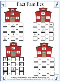 Learn about the relationships between numbers with these fun fact family worksheets and activities. Find more Grade math lessons & activities. First Grade Math Worksheets, 1st Grade Math, Grade 2, Fact Family Worksheet, Math Addition, Addition Worksheets, Math Drills, Math Workbook, Fact Families