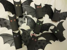 cute bats made from toilet paper rolls! made with inspiration from a quick google search.