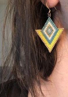 Golden yellow and turquoise Miyuki beaded crochet earrings Bead Embroidery Jewelry, Beaded Jewelry Patterns, Beaded Embroidery, Beading Patterns, Seed Bead Jewelry, Bead Jewellery, Beaded Earrings Native, Brick Stitch Earrings, Beaded Animals