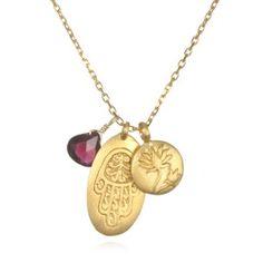 Hamsa Lotus and Red Garnet Charm Necklace