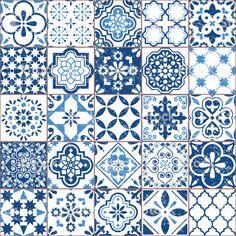 Vector Azulejo tile pattern, Portuguese or Spanish retro old tiles mosaic, Mediterranean seamless navy blue design - Royalty-free Pattern stock vector Tile Art, Mosaic Tiles, Cement Tiles, Wall Tiles, Design Bleu, Mediterranean Tile, Traditional Tile, Tuile, Spanish Tile