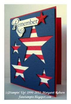 handmade patriotic card by Margaret Raburn ,,, partriotic colors ... red card ... navy background ,, negative space stars backed with wide red and white stripes ...