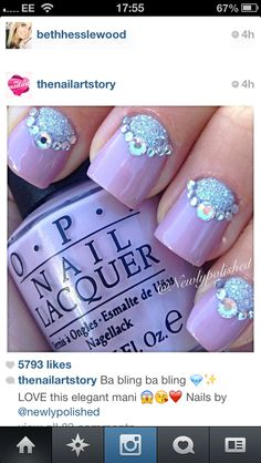Short pink Sparkley nails from Instagram