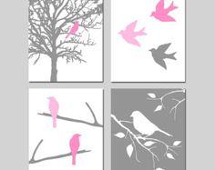 Pájaros de una pluma pared arte Quad Set de cuatro 8 x por Tessyla