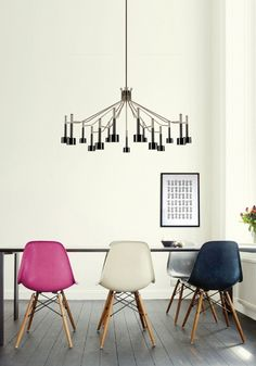Chairs and light fixture