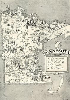 Vintage MINNESOTA Picture Map Pictorial State Map Print Black and White Gallery Wall Art Gift for Wedding Birthday Traveler Collector by OnTheWallPrints on Etsy Vintage Maps, Antique Maps, Vintage Travel, Vintage Signs, Minneapolis, Vikings, Pictorial Maps, Minnesota Home, Fun Illustration