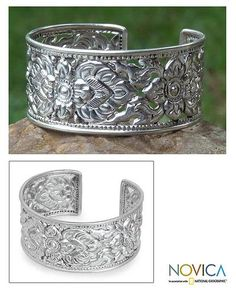 Handmade Floral Sterling Silver Cuff Bracelet - Classic | NOVICA