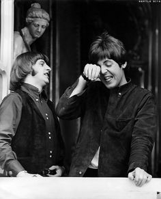 ❤ Ringo w/ Paul as Paul totally cracks up!!! Very Rare to see!  as in Never....  love this one!