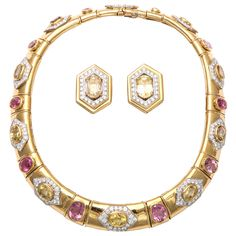David Webb Sapphire Diamond Tourmaline Gold Platinum Necklace Earrings Set | From a unique collection of vintage clip-on earrings at http://www.1stdibs.com/jewelry/earrings/clip-on-earrings/