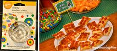 : Easy Prep Lego Party Food How to Lego Birthday Party, 6th Birthday Parties, Birthday Ideas, Lego Food, Lego Duplo, Lego Pizza, Party Layout, Pizza Bites, Childrens Party
