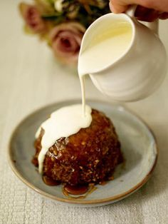 Everybody loves steamed pudding and these little ones are absolutely delicious. They're cooked in individual teacups – you can turn them out quite easily or eat them straight from the cup. Feel free to use different nuts, if you prefer.