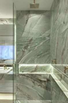 Aria Stone Gallery Cristallo Tiffany Quartzite Bathroom