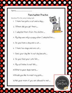 Punctuation Practice Sheet