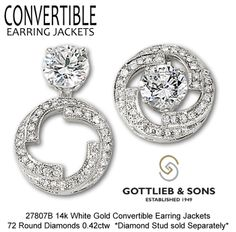 Give your studs NEW life with our Convertible Earring Jackets that allow you to wear your studs three different ways!  Visit your favorite Gottlieb & Sons jeweler to enhance your studs!