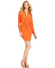 MICHAEL Michael Kors Dress, Long-Sleeve Shirt Dress - Womens Dresses - Macys