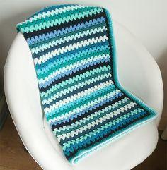 Crochet baby blanket sea blue green stripes. £35.00, via Etsy.