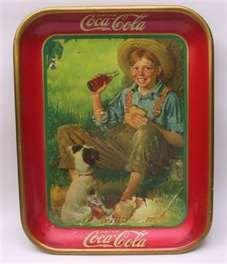 Vintage Boy And dog 1931 Coca Cola Tin Tray