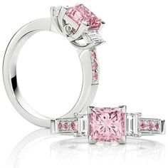 The Pink Princess. A stunning 1.52 ct Australian Argyle pink diamond ring with white baguettes on the sides and matching pink diamonds down the setting.