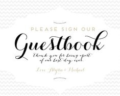 Guestbook Sign CUSTOMIZABLE on Etsy, $10.00