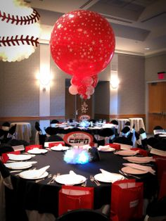 ESPN Themed Centerpiece with Red