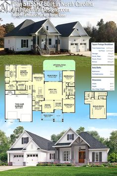 Our client built Architectural Designs House Plan 51755HZ in reverse orientation in North Carolina. The home gives you 3 beds, 2 baths and over 2,000 sq. ft. of heated living space plus a bonus room with bath over the garage. Ready when you are. Where do YOU want to build? #51755HZ #adhouseplans #architecturaldesigns #houseplan #architecture #newhome #newconstruction #newhouse #homedesign #dreamhome #dreamhouse #homeplan #architecture #architect #craftsmanhouse #craftsmanplan #craftsmanhome