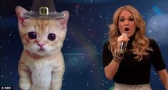 Carrie with Miley's Cat with a pilgrim hat. Huh?