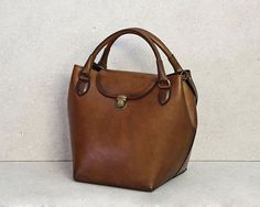 Leather Bag,Handmade,Tote Bag,Shoulder Bag,Purse,Brown,Vintage by TaranehShahbazi on Etsy