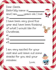 If you have little ones at home it's that time of year where they are writing Dear Santa letters. For the young ones let this fill in the blank Dear Santa letter help! Preschool Christmas, Christmas Crafts For Kids, Christmas Activities, Christmas Printables, Christmas Wishes, Christmas Traditions, Holiday Fun, Christmas Holidays, Christmas Letters
