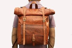 Leather Roll Top Backpack / Rucksack (Light Brown) - Vintage Retro Looking.
