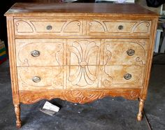 This beautiful antique dresser was a Craigslist find. After a coat of Annie Sloan chalk paint with gold-dipped legs, this dresser was brought back to life.