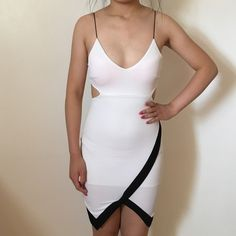 Bodycon dress Beautiful Charlotte Russe Bodycon dress. Worn once for a birthday dinner. SIZE XS. Has a built in white lining underneath. Charlotte Russe Dresses Mini
