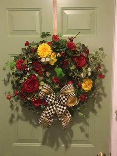 Grapevine Wreath Covered with Greenery & Filled with Red Flowers and Mackenzie Childs Ribbon, Front Door Wreath, Black and Gold Ribbon