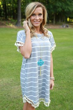 stripe and tassel dress - off the racks boutique