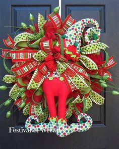 Christmas Deco Mesh Wreath Christmas Elf by FestivalofWreaths Christmas Front Doors, Christmas Door Wreaths, Candy Christmas Decorations, Christmas Fabric, Holiday Wreaths, Christmas Themes, Christmas Crafts, Holiday Decor, Christmas Lanterns