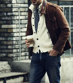 The jeans are (at least) one size too large, but the layering is nice... #menswear #style #jacket #sweater #layering