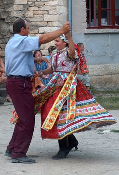 A father and his daughter dance at a wine harvest festival in the Kalotaszeg region of Transylvania (Romania), ::Photo by Ágnes Fülemile, Balassi Institute/Hungarian Cultural Center Folk Costume, Costumes, Transylvania Romania, Ode To Joy, Ribbon Skirts, Folk Dance, Cultural Center, Kimono Top, 30 July