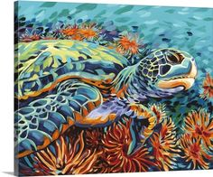 Colorful sea turtle canvas