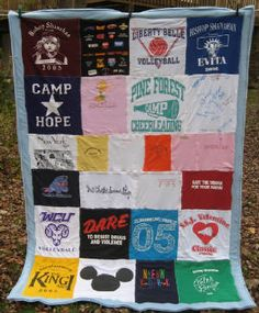 A T-shirt Blanket!  Wonder if there is a company that you can send your old tshirts to and have one made. Great way to save your old tshirts you never wear. Great idea for kids old jerseys, souvenir shirts, or faves they won't let u get rid of!!!