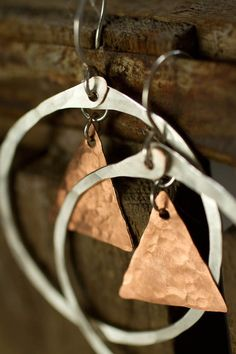 Silver Circle and Copper Triangle Earrings by RootsAndWingsJewelry, $38.00