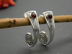 Silver garnet earrings, sterling spiral post earrings garnet gemstone half hoop long earrings garnet jewelry, rustic Christmas gift for her